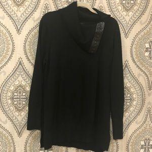 DNKY Women's Cowl Neck Split Sweater